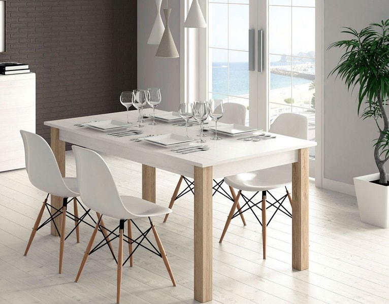 mesa-blanca-madera-salon-comedor