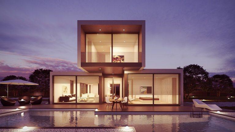 casa-prefabricada-piscina-noche