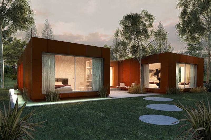 casa-modular-moderna-jardín